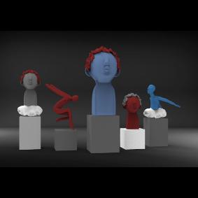 公共艺术头像雕塑小品su 文件+keyshot  渲染效果图