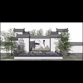 新中式景观小品 庭院景观su模型