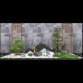 新中式庭院景观景观小品su模型