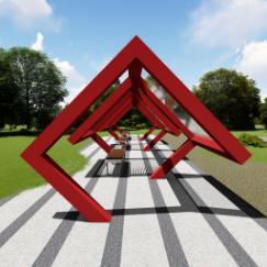 公共艺术现代简易户外廊架小品雕塑su文件