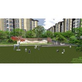 现代极简住宅小区运动跑道居住区景观模型