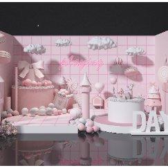 粉色展示美陈景墙