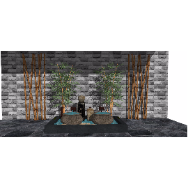 新中式禅意庭院景观 景观小品 树su模型