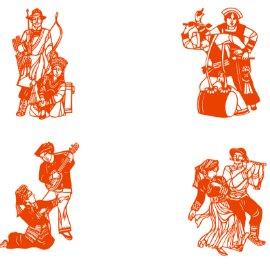 剪纸 镂空 广告牌 舞蹈 民族舞蹈