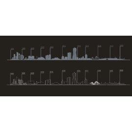 城市剪影 线条画 矢量图 广告牌