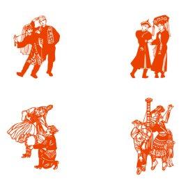 民族服饰 舞蹈 剪纸