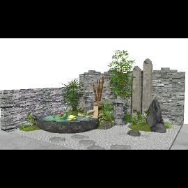 新中式景观小品庭院景观跌水景观水景枯山水SU模型