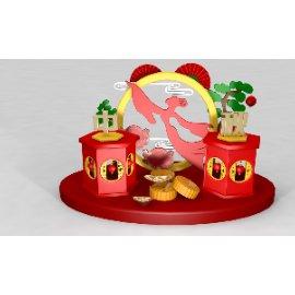 嫦娥奔月加月饼美陈雕塑