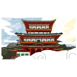 古风 中国风  海报   中国风背景海报   建筑插画