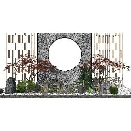 新中式景观小品庭院景观石头su模型
