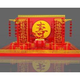 红色中国风寿诞新年美陈灯笼大鼓礼盒C4D模型