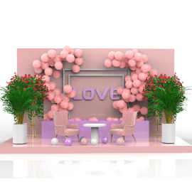 粉色浪漫情人节美陈场景C4D模型