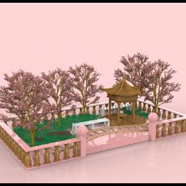 粉色樱花中式中国风美陈C4D模型