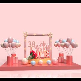三八妇女节女神节电商场景气球C4D美陈