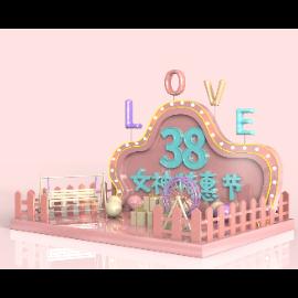三八妇女节女神节电商场景C4D美陈