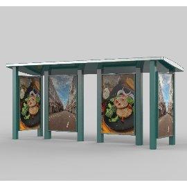 户外广告公交站展台3D模型