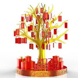 春节物料新年红包树C4D美陈