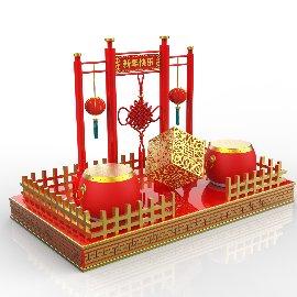 红色喜庆春节新年C4D美陈