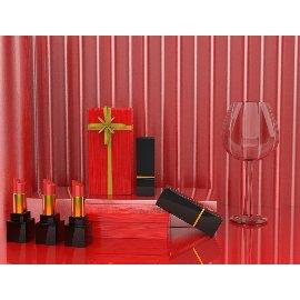 红色喜庆口红美妆化妆品C4D模型