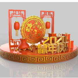 红色喜庆新年春节美陈灯笼C4D模型