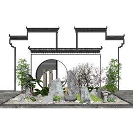新中式庭院景观 景观小品 景墙 树 石头 枯枝su模型