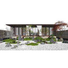 新中式庭院景观 景观小品 乔木 植物  假山石头su模型