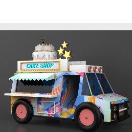 餐车货车小汽车蛋糕美陈C4D模型