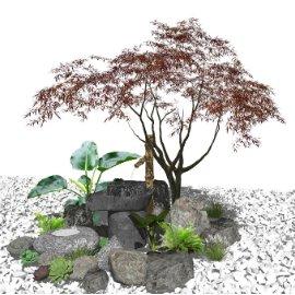 新中式庭院景观 景观小品 滨水景观 树 石头su模型