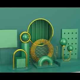 简约几何球体电商场景C4D模型