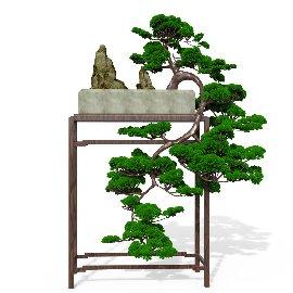 中式盆景景观美陈装饰C4D模型