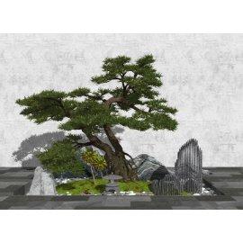 新中式景观小品 庭院景观 石头 景观树su模型