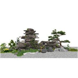 新中式假山叠石 石头 景观小品 庭院景观 植物su模型