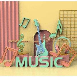 乐器装饰音乐节C4D模型
