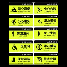 黄色商场安全导视禁止牌