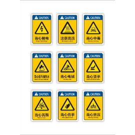 黄色常用安全警示禁止牌