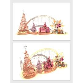 金色圣诞树商场美陈设计