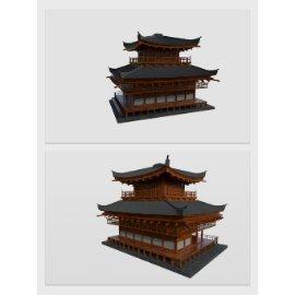 木质中国风门楼模型设计