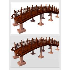 中式古风桥梁模型