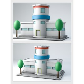卡通医院建筑模型
