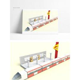 地铁站列车模型