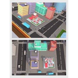 卡通城市街道模型