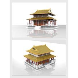 中式古建筑模型设计