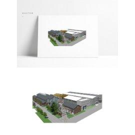 工业厂区厂房模型