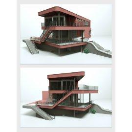 现代建筑二层小楼模型