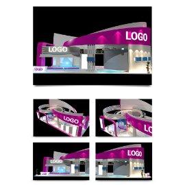 紫色展厅展会模型