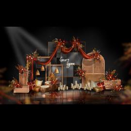 红色婚礼舞台效果图
