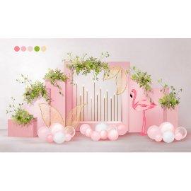 粉色火烈鸟小清新堆头