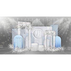 蓝白色婚庆婚礼舞台布景