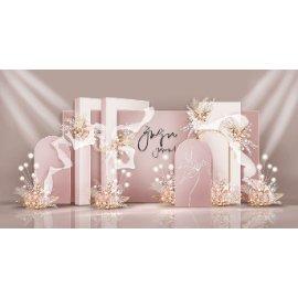 粉色婚礼婚庆舞台堆头