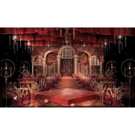 红金豪华婚礼舞台效果图